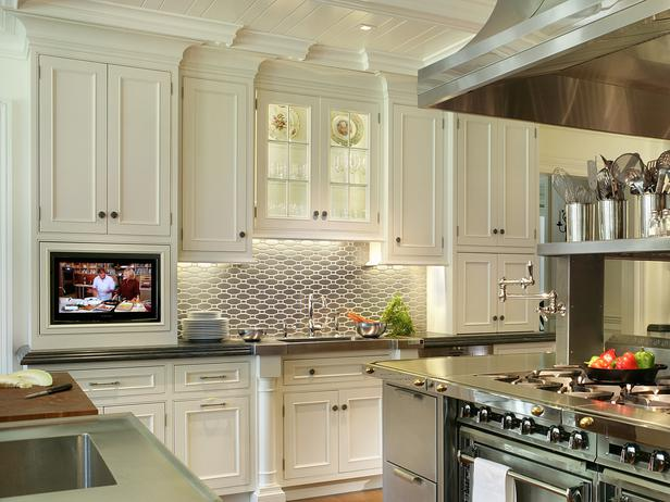 Wall cabinets for a fully operational storage system at - Small tv for kitchen wall ...