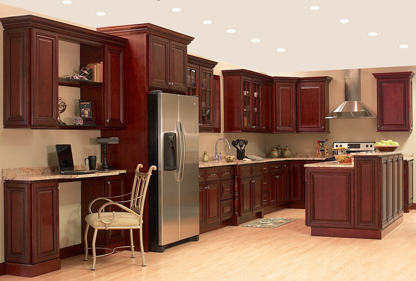 Contemporary Kitchen Cherry Cabinets With W For Decorating Ideas - Kitchen ideas with cherry wood cabinets
