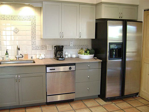 Colored White Painted Kitchen Cabinets