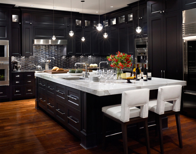 Tips of designing nice and simple modern kitchens Black cabinet kitchens pictures
