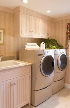 spacious laundry room cabinets
